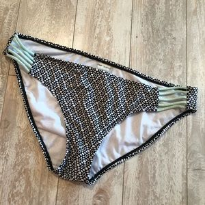 Hot Water black and mint green bikini bottoms L